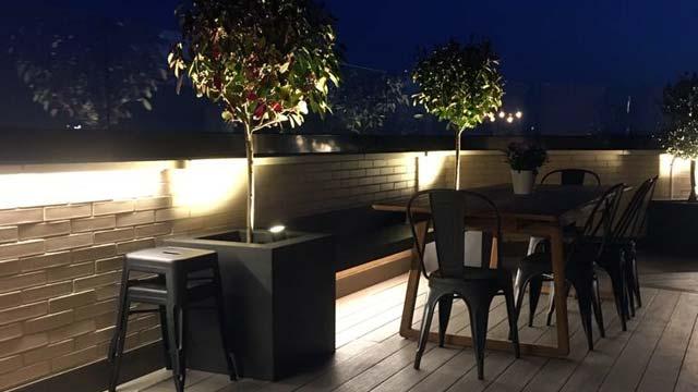 Iluminación exterior en terrazas